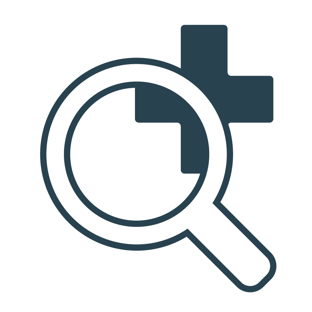 Magnifying glass on health icon