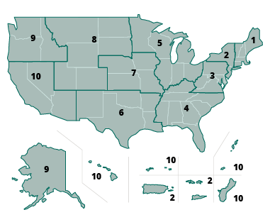US map region labeled in 1 ~ 10 regions