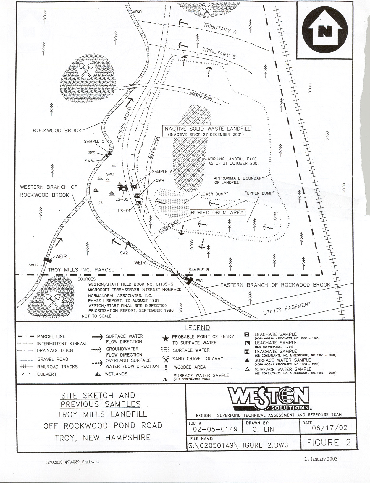 Figure 2: General Map of Troy Mills Landfill Site.
