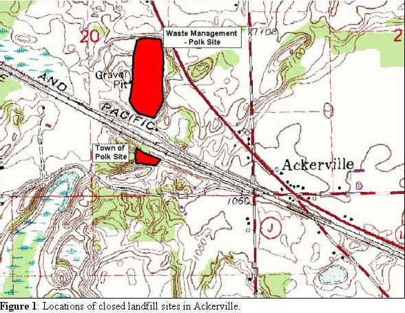 Locations of closed landfill sites in Ackerville
