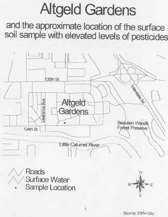 Altgeld Gardens and the Approximate Location of the Surface Soil Sample with Elevated Levels of Pesticides