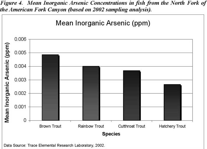 Mean Inorganic Arsenic Concentrations in fish from the North Fork of the American Fork Canyon (based on 2002 sampling analysis)