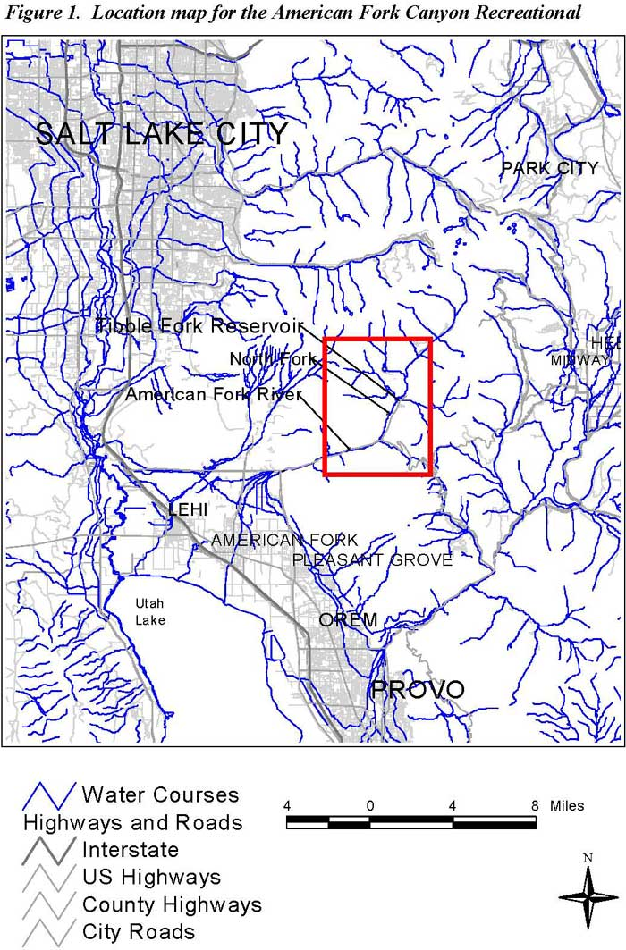Location map for the American Fork Canyon Recreational