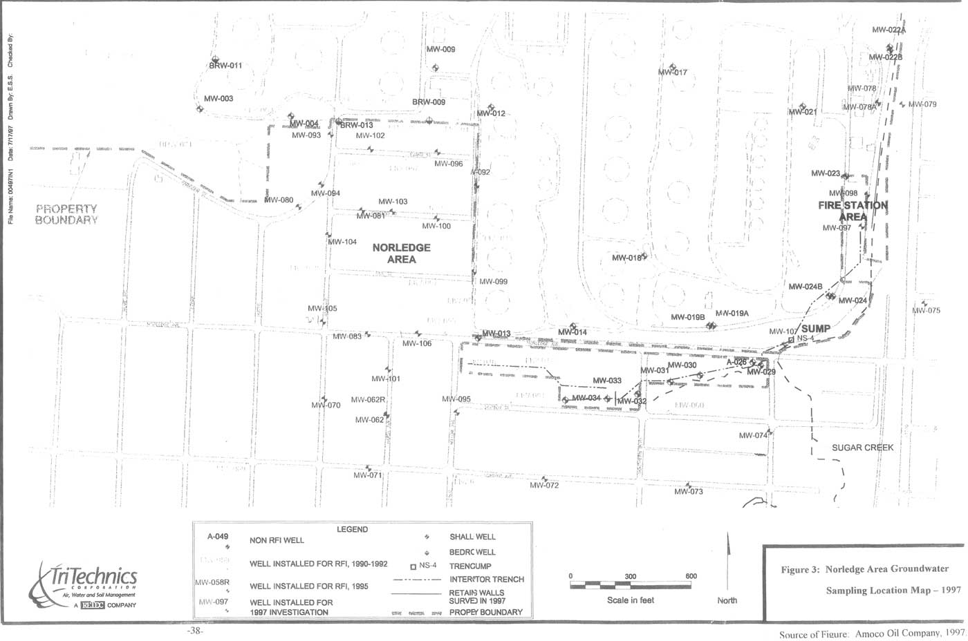 Norledge Area Groundwater Sampling Location Map - 1997