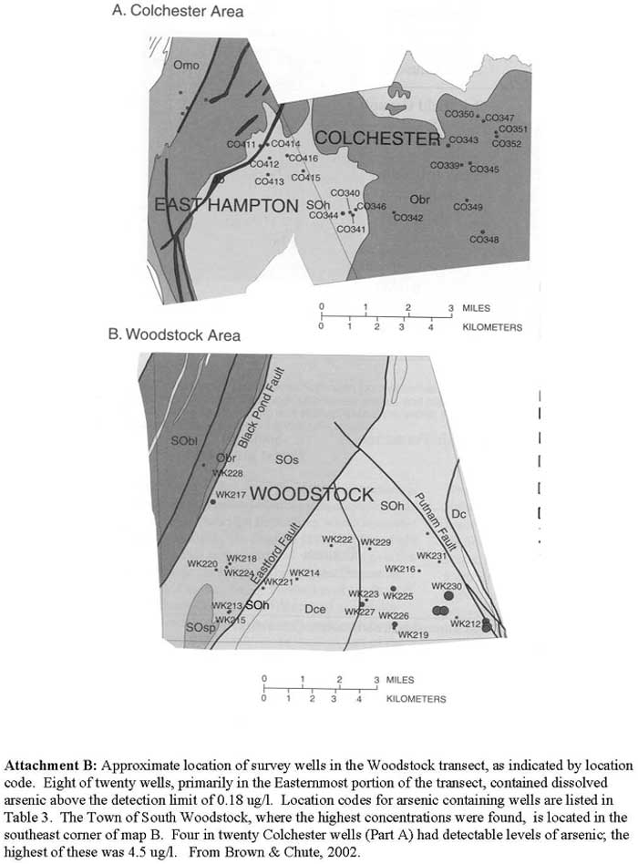 Approximate location of survey wells in the Woodstock transect, as indicated by location code. Eight of twenty wells, primarily in the Easternmost portion of the transect, contained dissolved arsenic above the detection limit of 0.18 ug/l. Location codes for arsenic containing wells are listed in Table 3. The Town of South Woodstock, where the highest concentrations were found, is located in the southeast corner of map B. Four in twenty Colchester wells (Part A) had detectable levels of arsenic; the highest of these was 4.5 ug/l. From Brown & Chute, 2002.