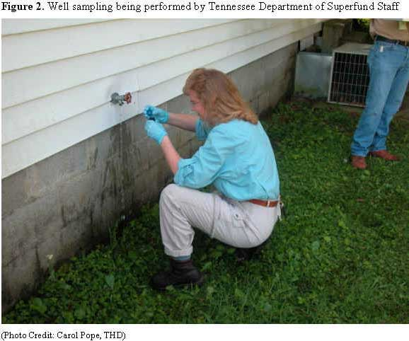 Well sampling being performed by Tennessee Department of Superfund Staff
