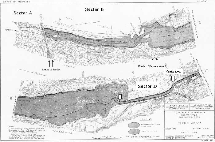 Downriver area of the Byram River. Because this map is from an Army Corps of Engineers report on the 1955 flood, there are differences in street names and the level of development as compared to today. Sectors are those referred to in the text.
