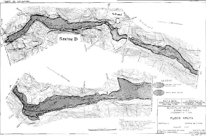 Upriver area of the Byram River to the felt mill. Because this map is from an Army Corps of Engineers report on the 1955 flood, there are differences in street names and the level of development as compared to today. Sectors are those referred to in the text.