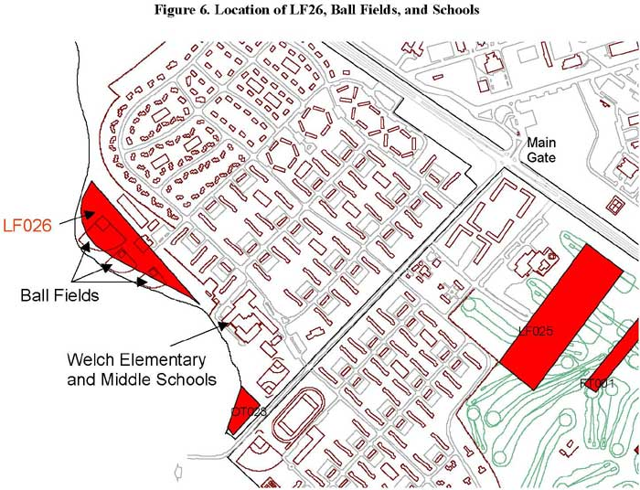 Location of LF26, Ball Fields, and Schools