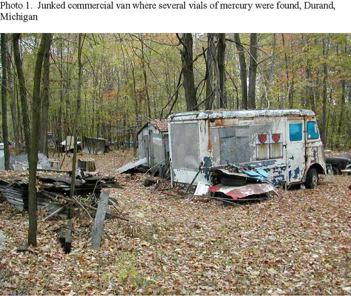 Junked commercial van where several vials of mercury were found, Durand, Michigan
