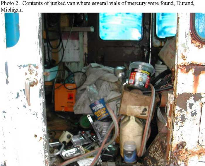 Contents of junked van where several vials of mercury were found, Durand, Michigan