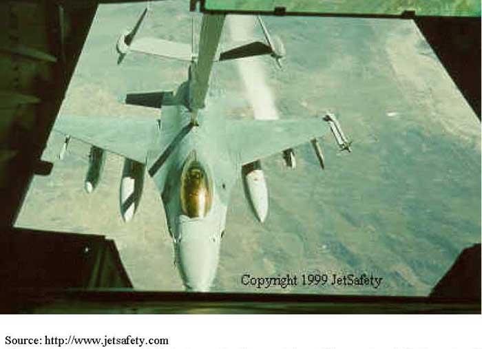 F-16 venting fuel during refueling activity. This venting is believed to be a result of overfilling during refueling. Although this is not �jettisoning' as such, it does provide a visual reference for the appearance of fuel coming out of an aircraft during flight. NOTE: This is NOT an NASF aircraft.