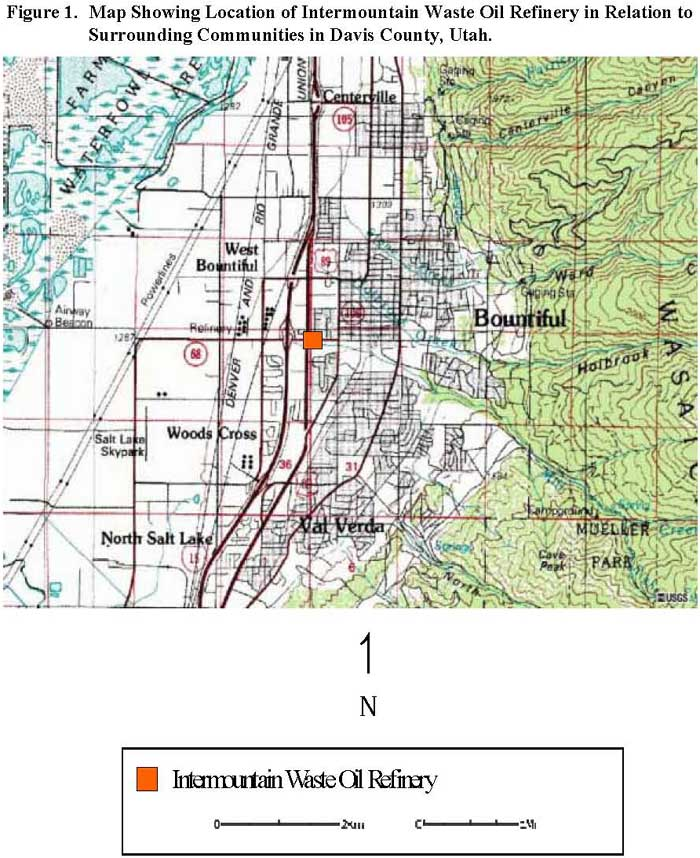 Map Showing Location of Intermountain Waste Oil Refinery in Relation to Surrounding Communities in Davis County, Utah