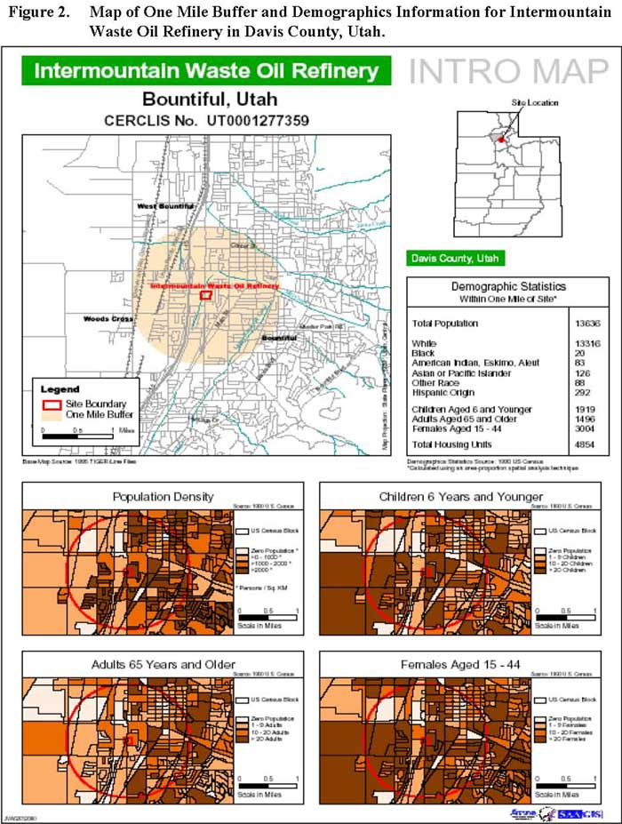 Map of One Mile Buffer and Demographics Information for Intermountain Waste Oil Refinery in Davis County, Utah