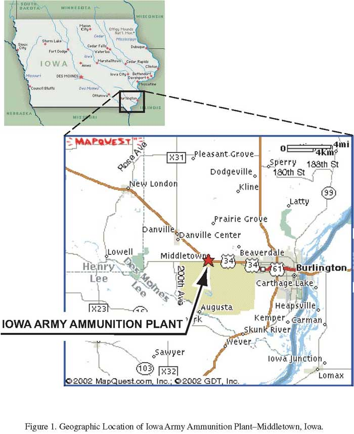 Geographic Location of Iowa Army Ammunition Plant-Middletown, Iowa