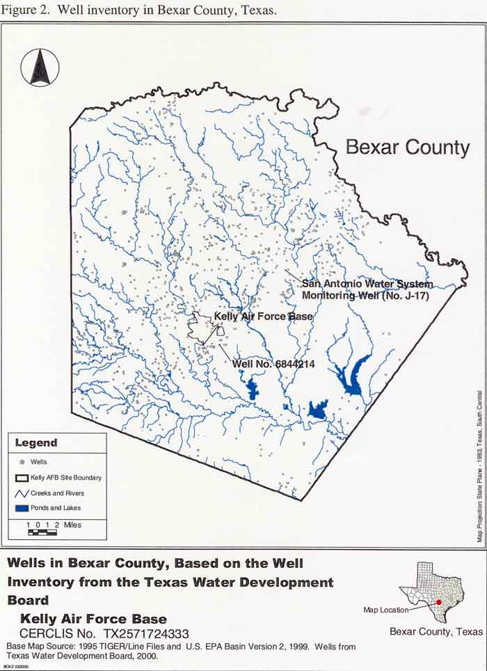Wells in Bexar County, based on the well inventory from the Texas Water Development Board