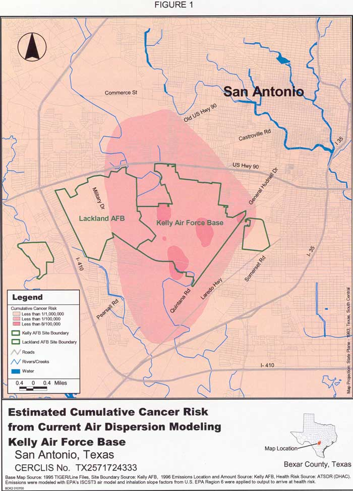 Estimated Curative Cancer Risk from Current Air Dispertion Modeling