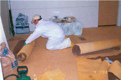 EPA contactor removing mercury-contaminated carpeting from the Mohican Maze for off-site disposal.
