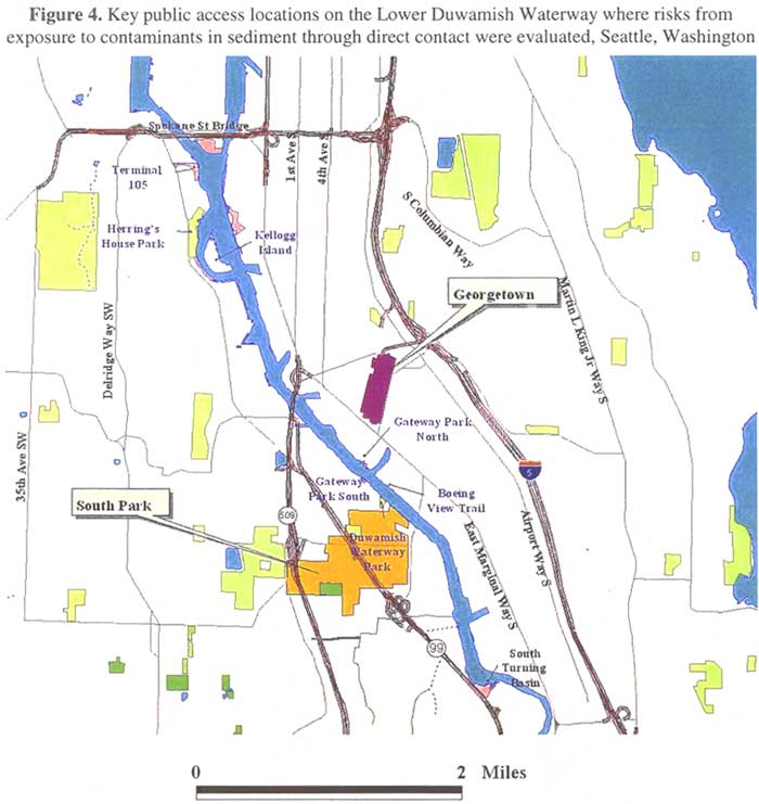 Key public access locations on the Lower Duwamish Waterway where risks from exposure to contaminants in sediment through direct contact were evaluated, Seattle, Washington