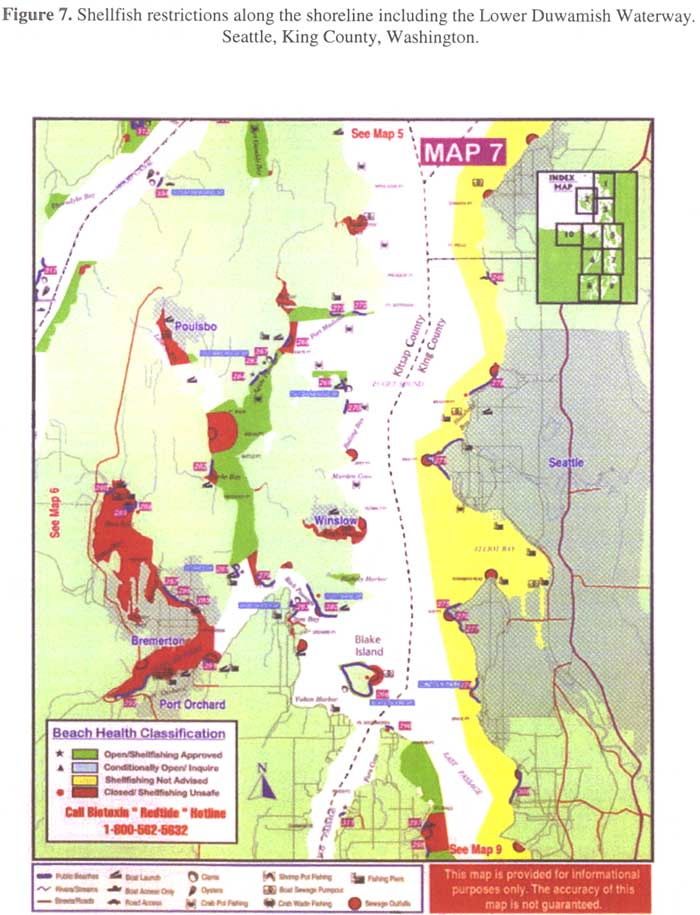 Shellfish restrictions along the shoreline including the Lower Duwamish Waterway. Seattle, King County, Washington