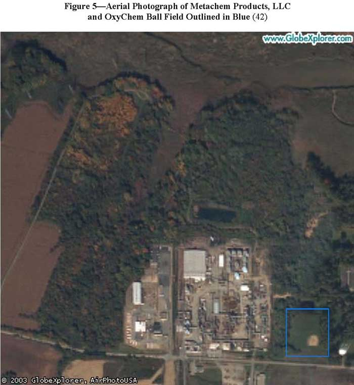 Aerial Photograph of Metachem Products, LLC and OxyChem Ball Field Outlined in Blue