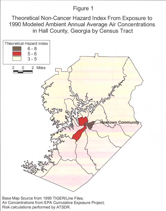 Theoretical Non-Cancer Hazard Index From Exposure to 1990 Modeled Ambient Annual Average Air Concentrations in Hall County, Georgia by Census Tract