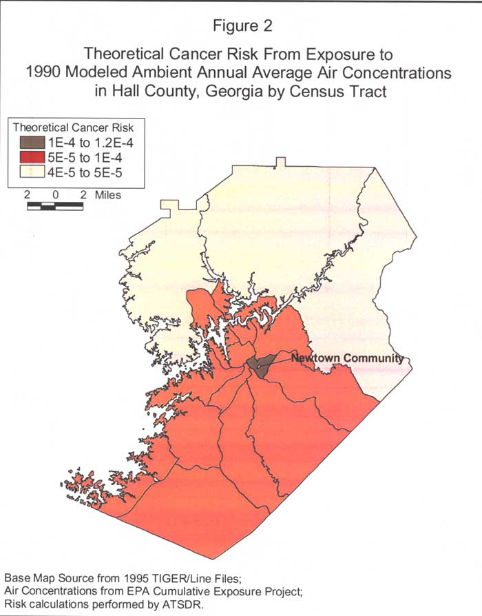 Theoretical Cancer Risk From Exposure to 1990 Modeled Ambient Annual Average Air Concentrations in Hall County, Georgia by Census Tract