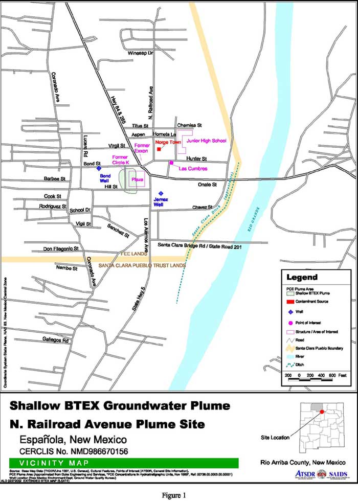 Vicinity Map, PCE Groundwater Plume