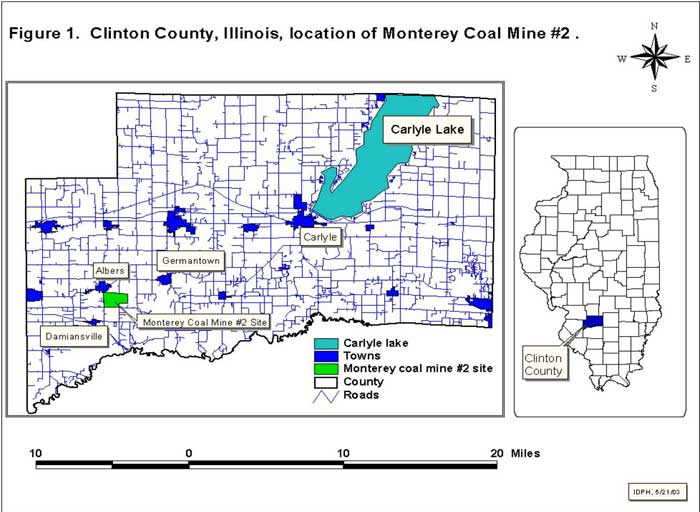 Clifton County, Illinois, location of Monterey Coal Mine #2