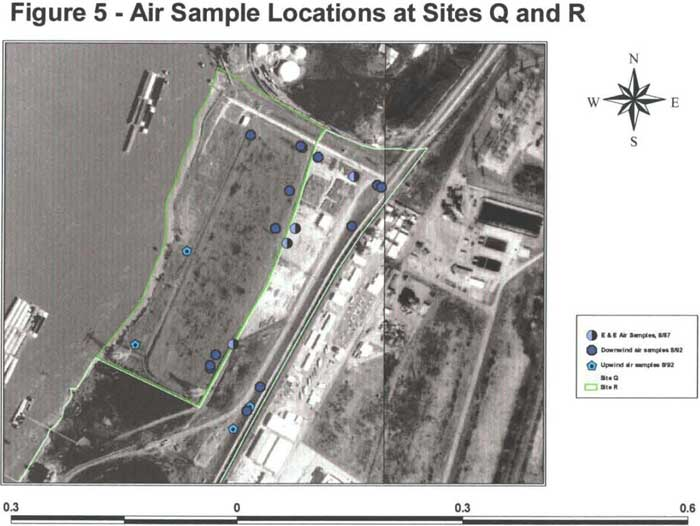 Air Sample Locations at Sites Q and R