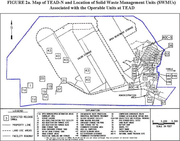 Map of TEAD-N and Location of Solid Waste Management Units (SWMUs) Associated with the Operable Units at TEAD
