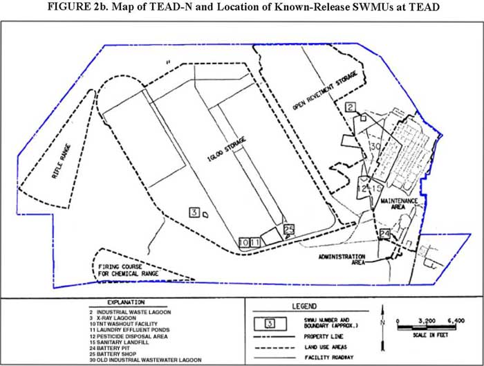 Map of TEAD-N and Location of Known-Release SWMUs at TEAD