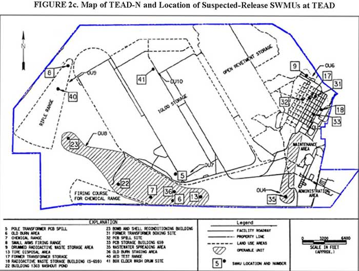 Map of TEAD-N and Location of Suspected-Release SWMUs at TEAD