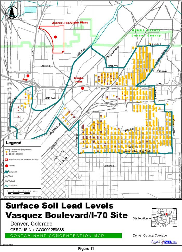Surface Soil Lead Levels Contaminant Concentration Map