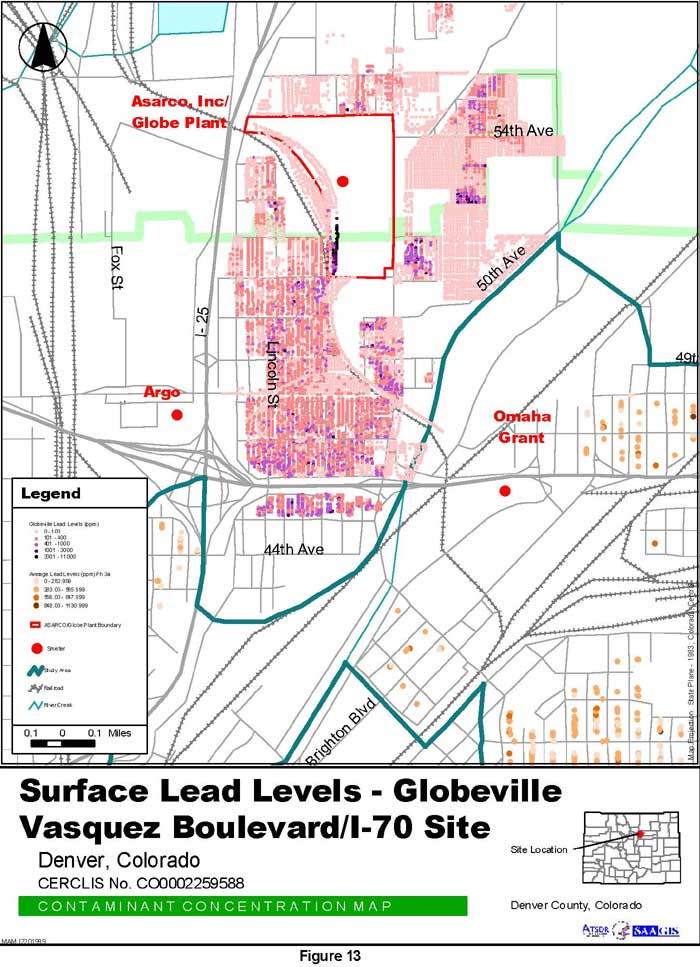 Surface Lead Levels - Globeville Contaminant Concentration Map