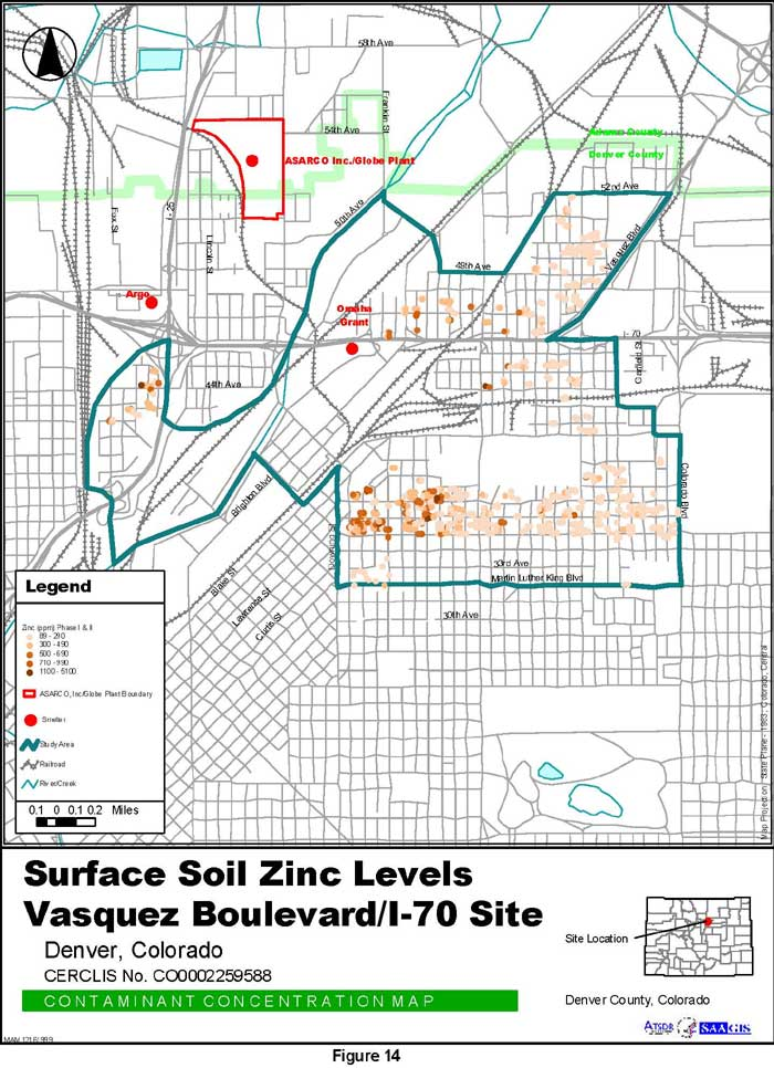 Surface Soil Zinc Levels Contaminant Concentration Map