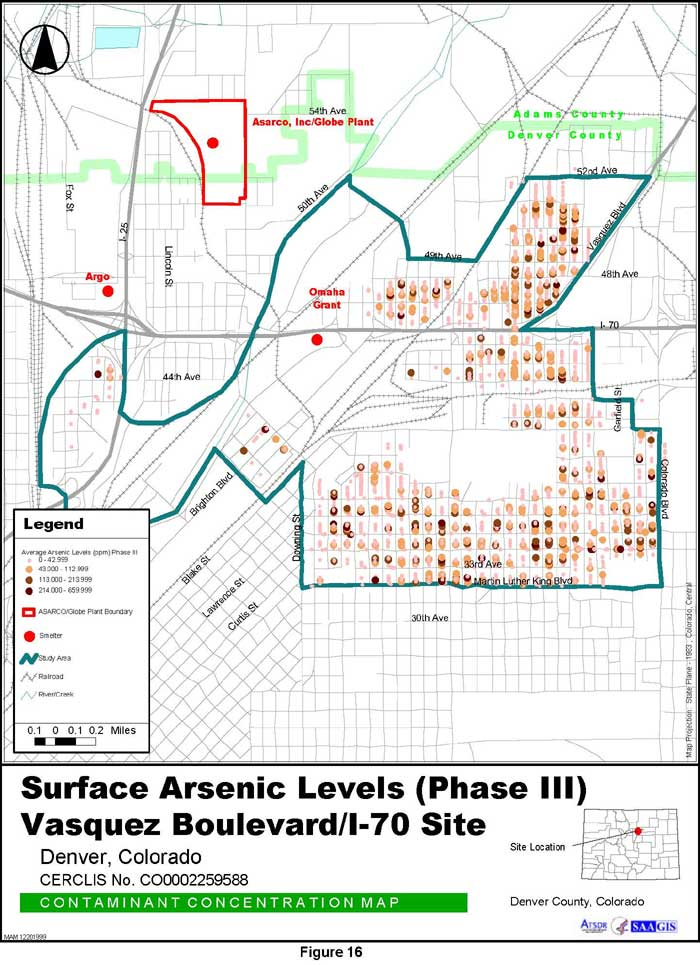 Surface Arsenic Levels (Phase III) Contaminant Concentration Map