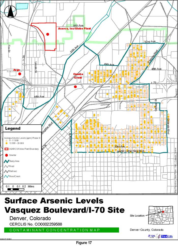 Surface Arsenic Levels Contaminant Concentration Map