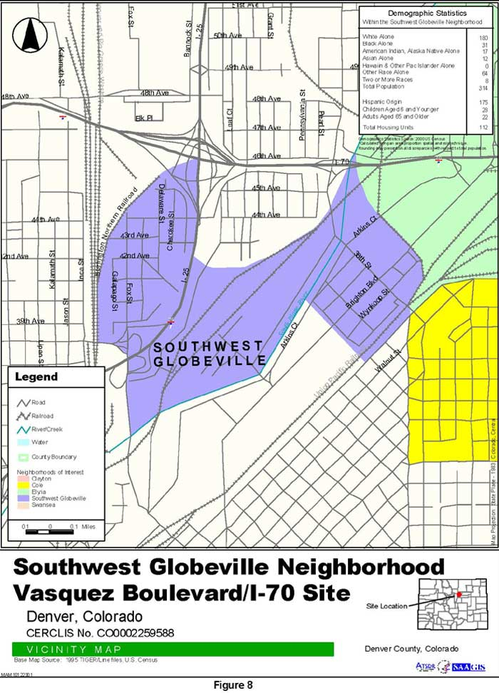 Southwest Globeville Neighborhood Vicinity Map