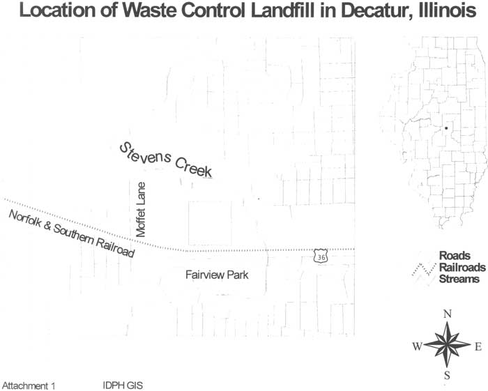 Location of Waste Control Landfill in Decatur, Illinois