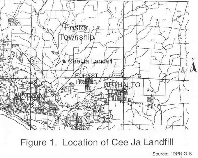 Location of Cee Ja Landfill