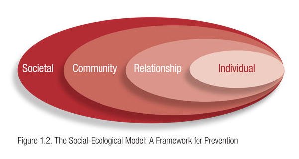"Figure titled ""The Social Ecological Model: A Framework for Prevention."" One circle labeled Individual is encompassed by a larger circle labeled Relationship, which is encompassed by a larger circle labeled Community, which is encompassed by the largest circle labeled Societal."