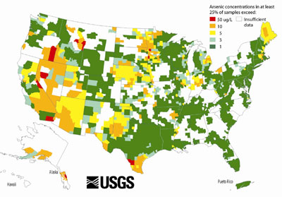 U.S. Geological Survey Map of Arsenic in Groundwater