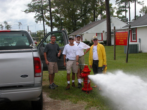 Image 3: Photo showing conduct of fire-flow test to gather needed information on system parameters for water-distribution system modeling at Camp Johnson, Marine Corps Base Camp Lejeune, North Carolina, August 26, 2004.