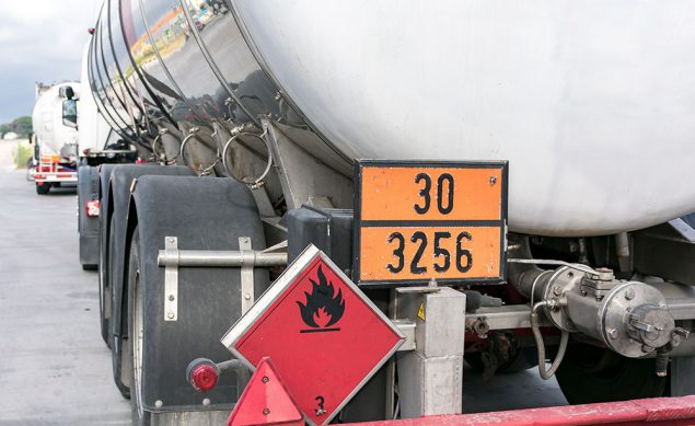 Tanker truck with emergency hazard sign