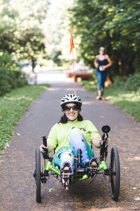 Andrea Peet on her recumbent trike