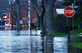 Street signs on flooded street
