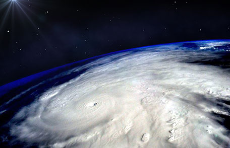 The eye of a tropical storm seem from space