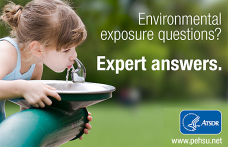 Girl drinking out of public water fountain with text - Environmental exposure questions? Expert answers.