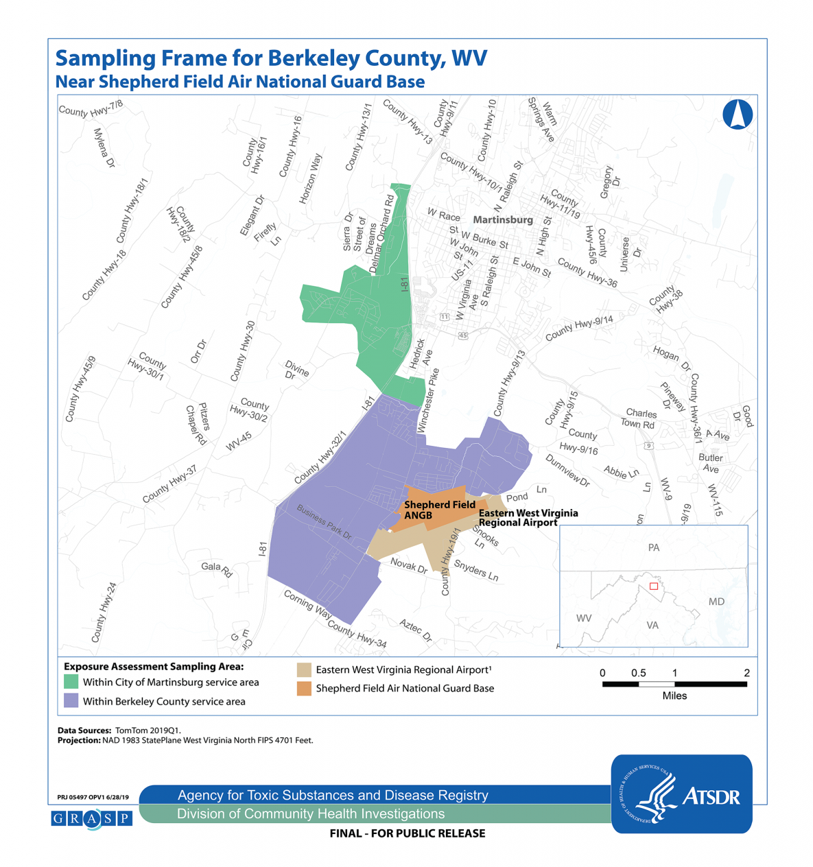 The map shows the sampling area where the exposure assessment will occur. It focuses on an area where residential tap water PFOA and/or PFOS concentrations were above federal or state guidelines. The boundary of this area represents Berkeley County residents who live south of the Big Springs treatment plant and City of Martinsburg residents who are connected to the municipal water supply and live west of Interstate 81 (I-81) or in the Amber Woods housing complex.